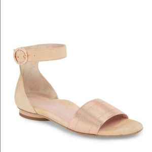 Taryn Rose Donati Pink Suede Flats w/Ankle Strap